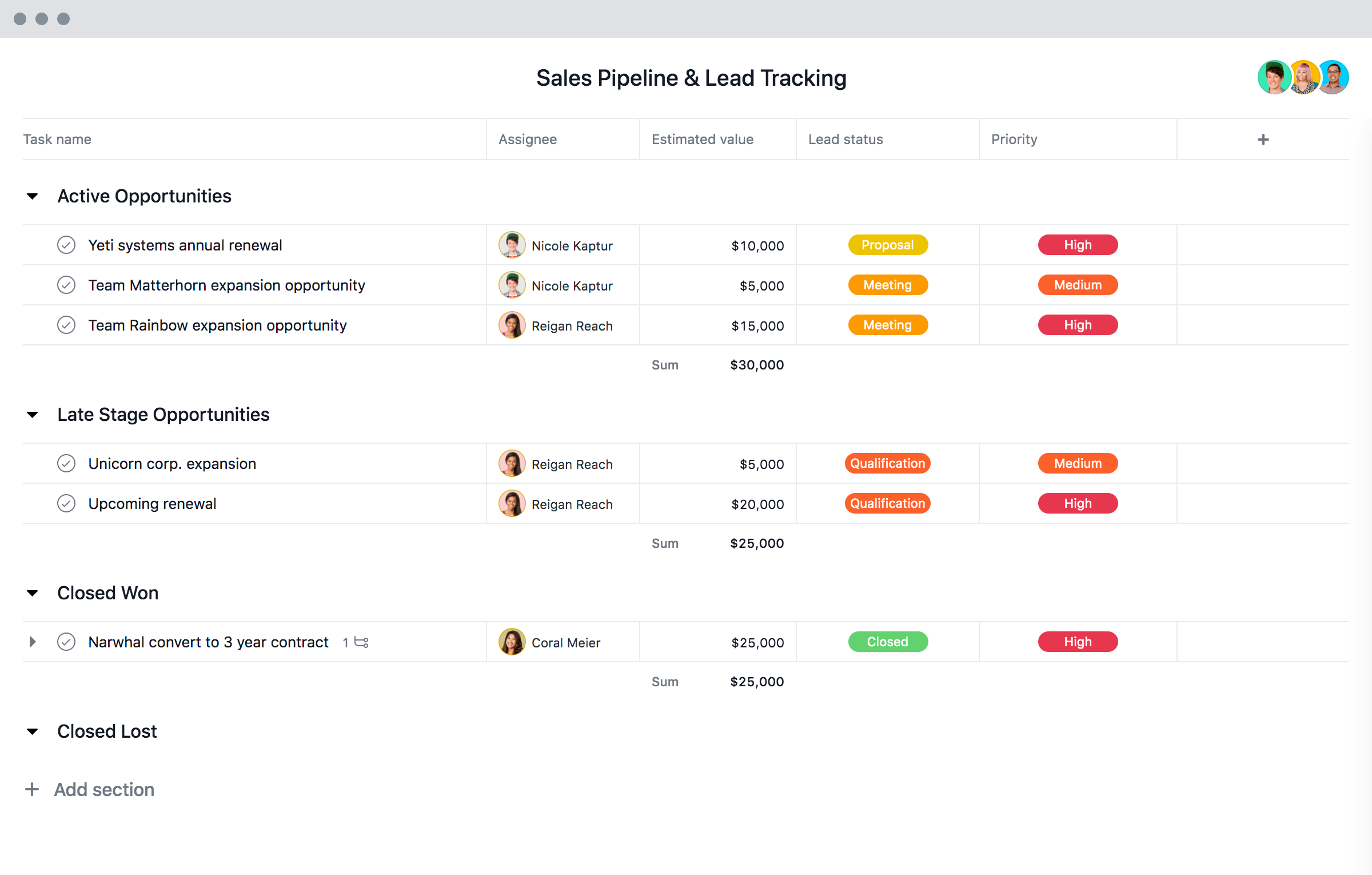 Sales Pipeline Template Account Tracking Template Asana