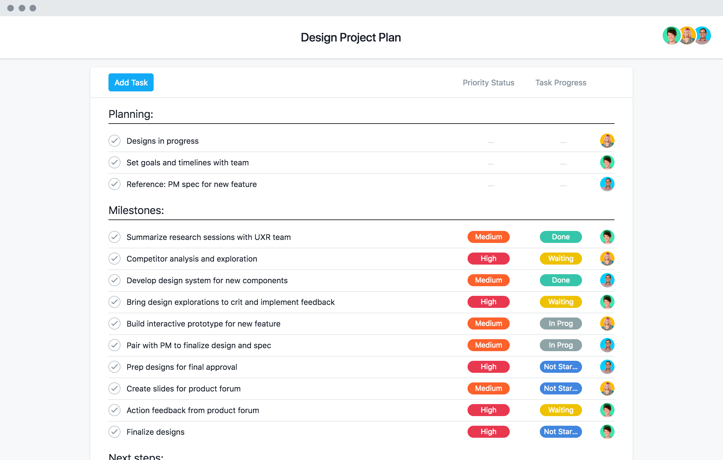 Design Project Management Template Asana