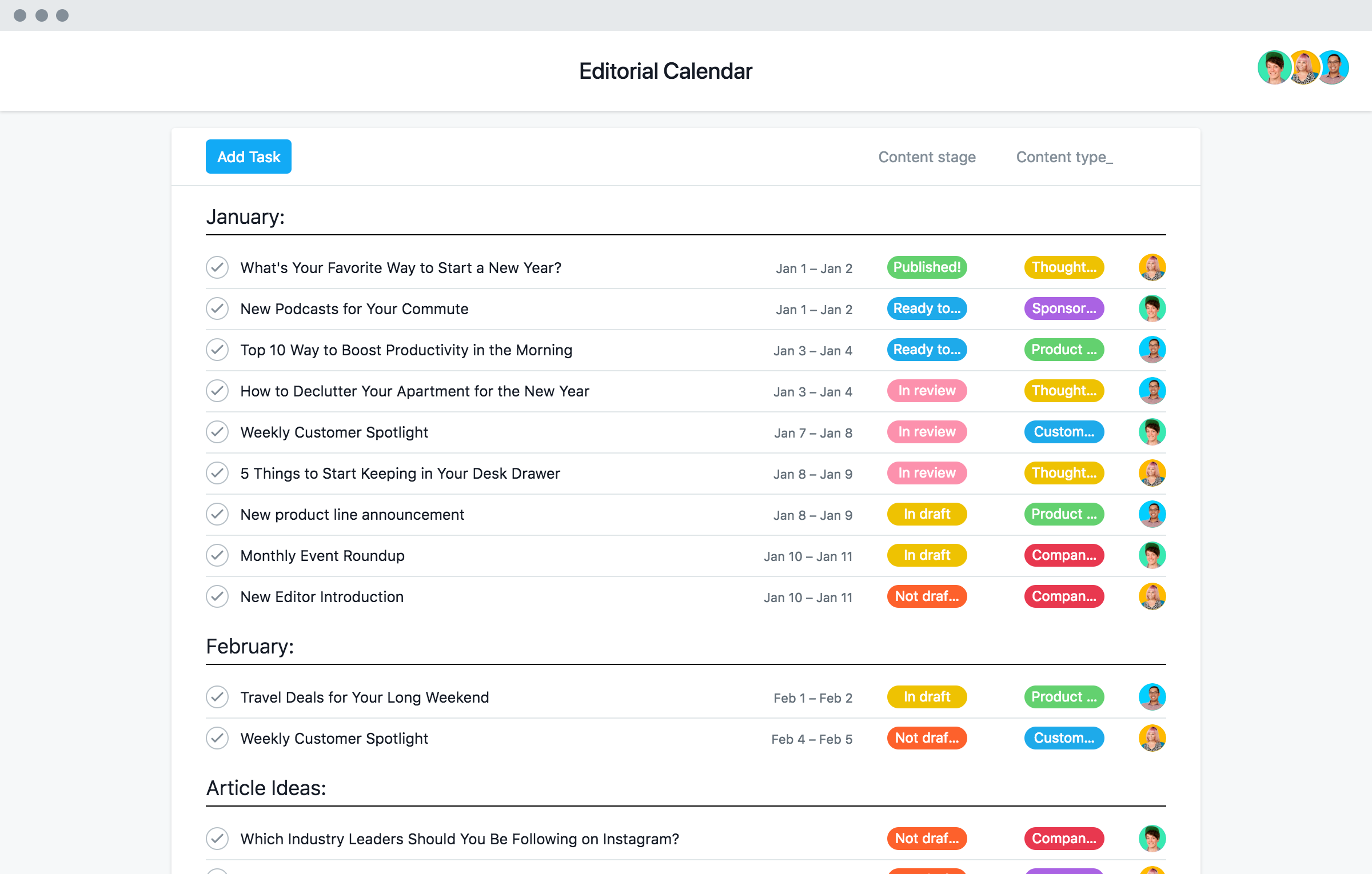 Easy To Adapt Editorial Calendar Template Asana